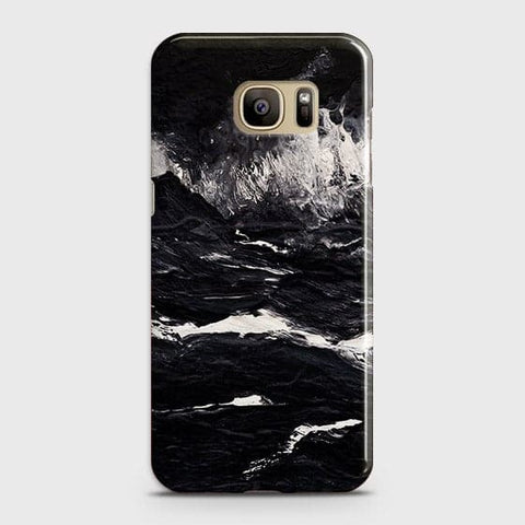 Samsung Galaxy S7 Cover - Black Ocean Marble Trendy Printed Hard Case With Life Time Colour Guarantee