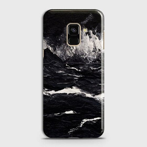 3D Black Ocean Marble Trendy Case For Samsung A8 2018