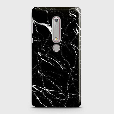 Nokia 6.1 - Trendy Black Marble Printed Hard Case With Life Time Guarantee