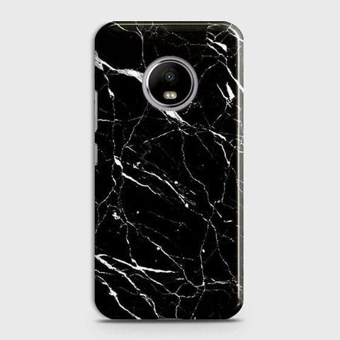 Motorola E4 Plus - Trendy Black Marble Printed Hard Case With Life Time Guarantee