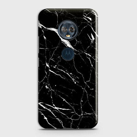 Motorola E5 Plus - Trendy Black Marble Printed Hard Case With Life Time Guarantee