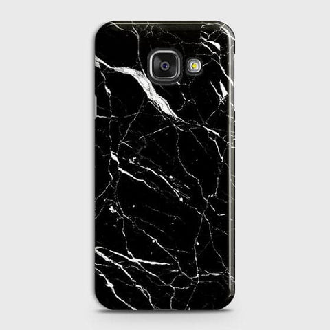 Samsung Galaxy A710 (A7 2016) - Trendy Black Marble Printed Hard Case With Life Time Guarantee