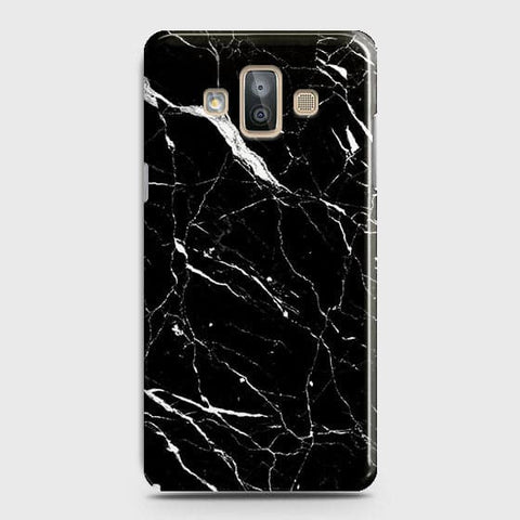 Samsung Galaxy J7 Duo - Trendy Black Marble Printed Hard Case With Life Time Guarantee