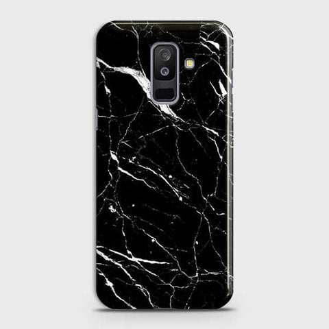 Samsung A6 Plus 2018 - Trendy Black Marble Printed Hard Case With Life Time Guarantee