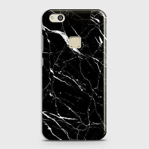 Huawei P10 Lite - Trendy Black Marble Printed Hard Case With Life Time Guarantee