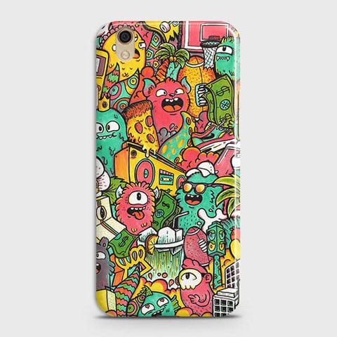 Oppo F1 Plus / R9 Cover - Candy Colors Trendy Sticker Bomb Printed Hard Case With Life Time Guarantee