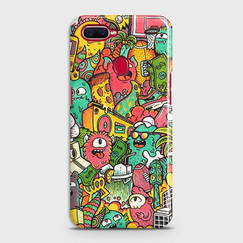 Oppo F9 Cover - Candy Colors Trendy Sticker Bomb Printed Hard Case With Life Time Guarantee