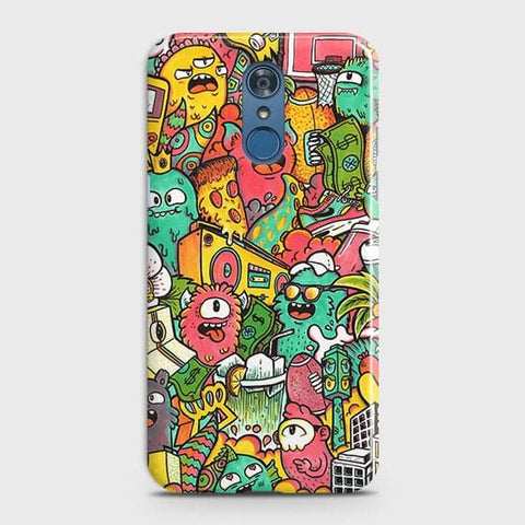 LG Q7 Cover - Candy Colors Trendy Sticker Bomb Printed Hard Case With Life Time Guarantee