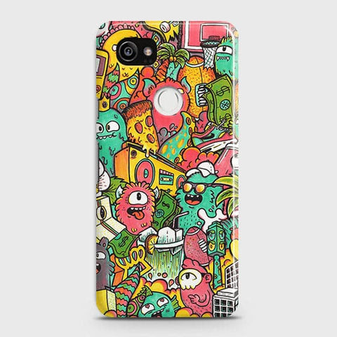 Google Pixel 2 XL Cover - Candy Colors Trendy Sticker Bomb Printed Hard Case With Life Time Guarantee