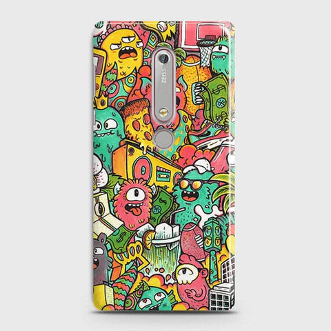 Nokia 6.1 Cover - Candy Colors Trendy Sticker Bomb Printed Hard Case With Life Time Guarantee