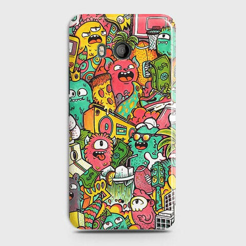 HTC U11 Cover - Candy Colors Trendy Sticker Bomb Printed Hard Case With Life Time Guarantee