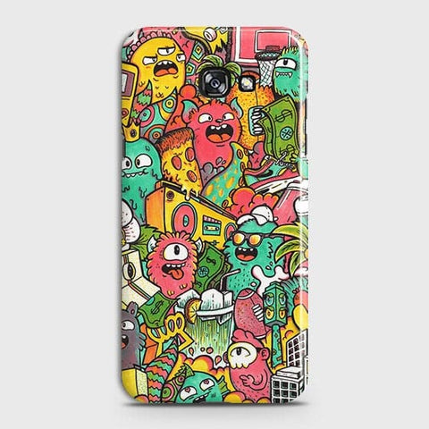 Samsung A3 2017 Cover - Candy Colors Trendy Sticker Bomb Printed Hard Case With Life Time Guarantee