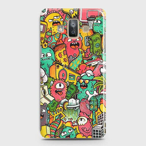 Samsung Galaxy J7 Duo Cover - Candy Colors Trendy Sticker Bomb Printed Hard Case With Life Time Guarantee