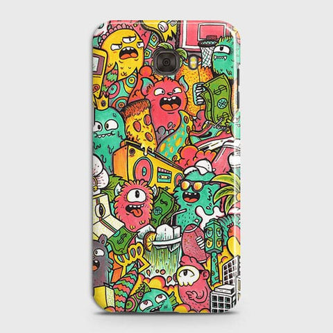 Samsung C7 Cover - Candy Colors Trendy Sticker Bomb Printed Hard Case With Life Time Guarantee