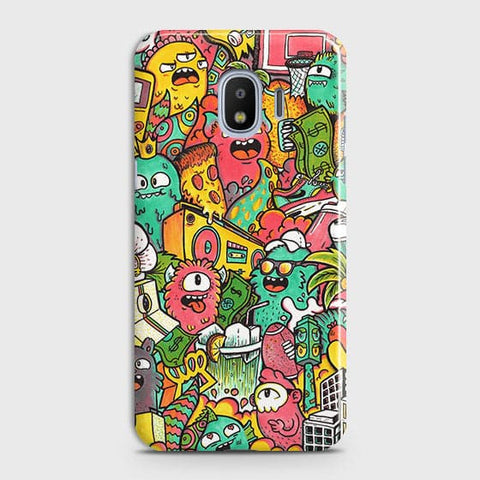 Samsung Galaxy J4 Cover - Candy Colors Trendy Sticker Bomb Printed Hard Case With Life Time Guarantee
