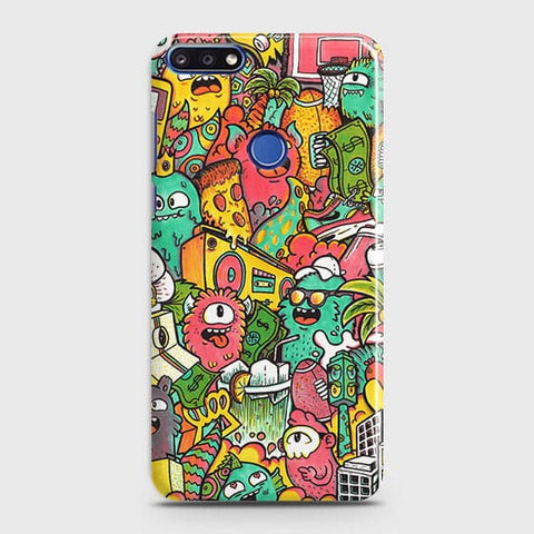 Candy Colors Trendy Sticker Bomb Case For Huawei Y7 Prime 2018