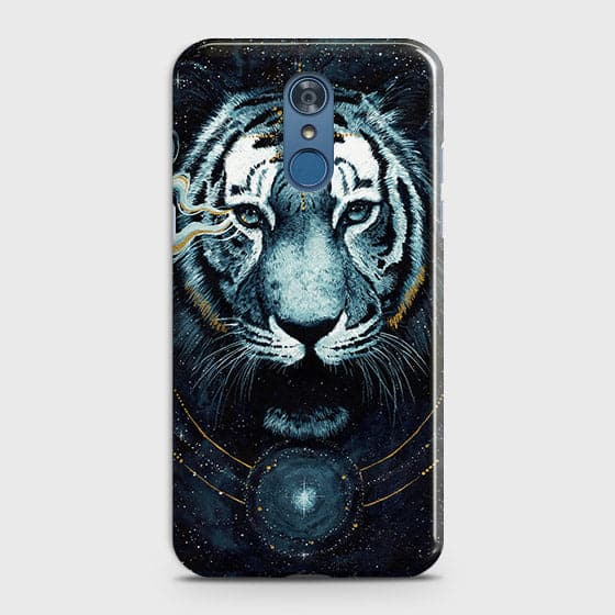 LG Q7 Cover - Vintage Galaxy Tiger Printed Hard Case with Life Time Colors Guarantee - OrderNation