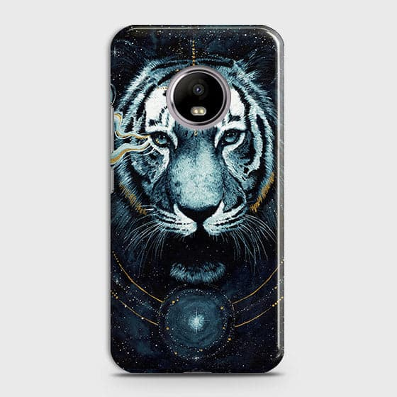 Motorola E4 Plus Cover - Vintage Galaxy Tiger Printed Hard Case with Life Time Colors Guarantee - OrderNation