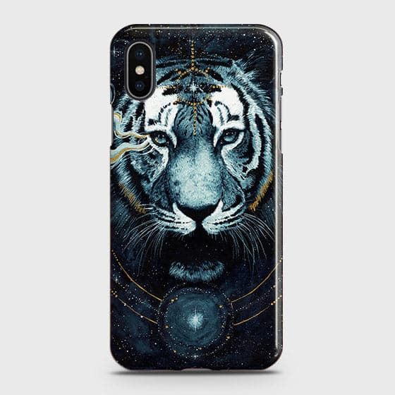 iPhone XS Max Cover - Vintage Galaxy Tiger Printed Hard Case with Life Time Colors Guarantee - OrderNation