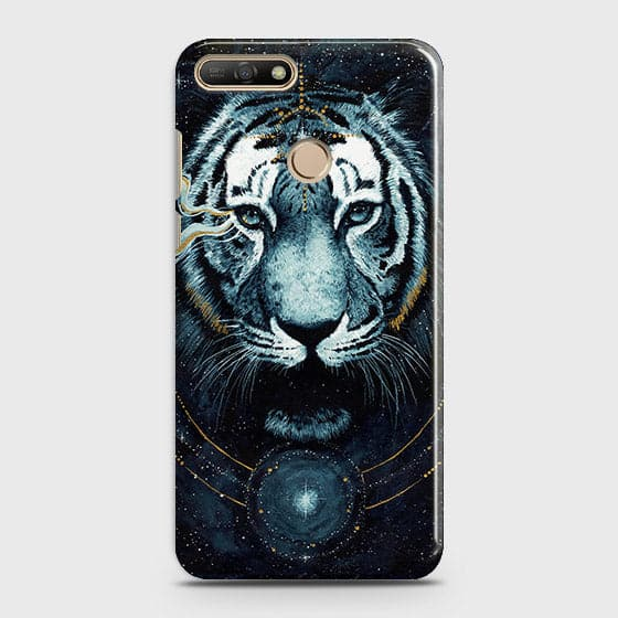 Huawei Y7 2018 Cover - Vintage Galaxy Tiger Printed Hard Case with Life Time Colors Guarantee - OrderNation