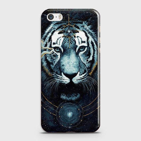 iPhone 5C Cover - Vintage Galaxy Tiger Printed Hard Case with Life Time Colors Guarantee - OrderNation