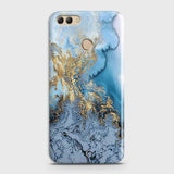 3D Trendy Golden & Blue Ocean Marble Case For Huawei Y9 2018