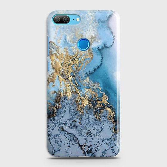 Huawei Honor 9 Lite - Trendy Golden & Blue Ocean Marble Printed Hard Case with Life Time Colors Guarantee - OrderNation