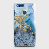 3D Trendy Golden & Blue Ocean Marble Case For Huawei Honor 7X