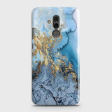 3D Trendy Golden & Blue Ocean Marble Case For Huawei Mate 20 Lite