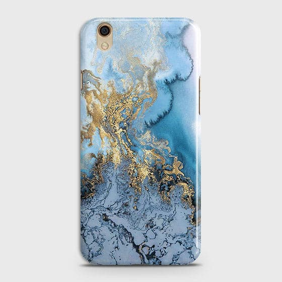 3D Trendy Golden & Blue Ocean Marble Case For Oppo A37