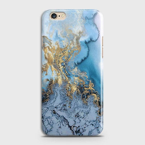 3D Trendy Golden & Blue Ocean Marble Case For Oppo A57
