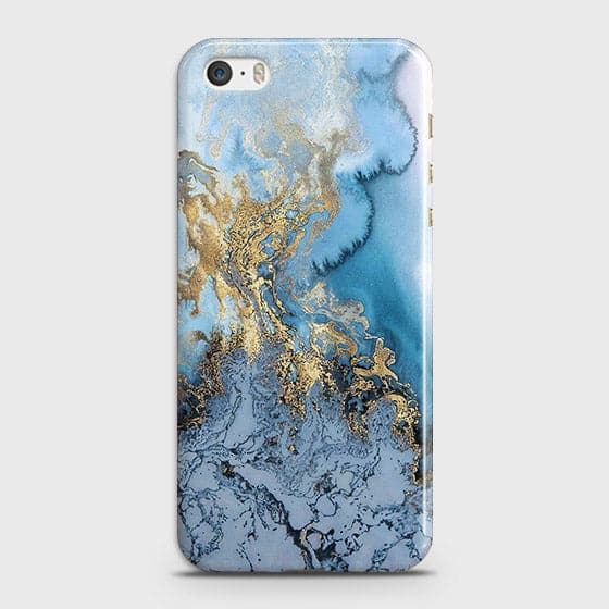 3D Trendy Golden & Blue Ocean Marble Case For iPhone 5 & iPhone SE