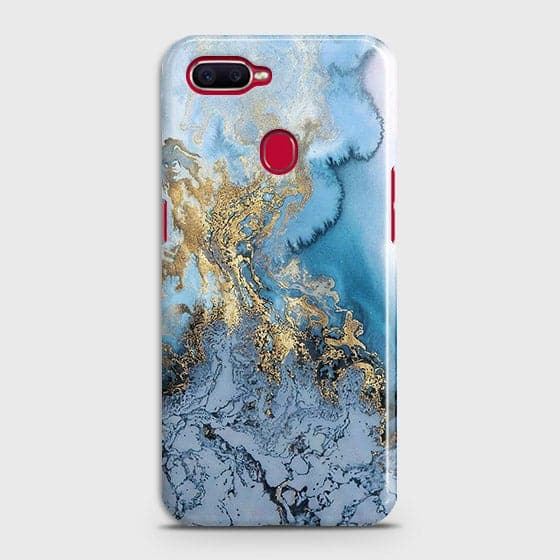 Oppo F9 Pro - Trendy Golden & Blue Ocean Marble Printed Hard Case with Life Time Colors Guarantee