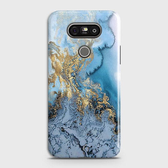 3D Trendy Golden & Blue Ocean Marble Case For LG G5