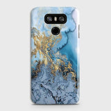 3D Trendy Golden & Blue Ocean Marble Case For LG G6