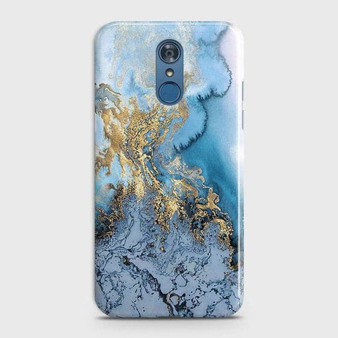 LG Q7 - Trendy Golden & Blue Ocean Marble Printed Hard Case with Life Time Colors Guarantee
