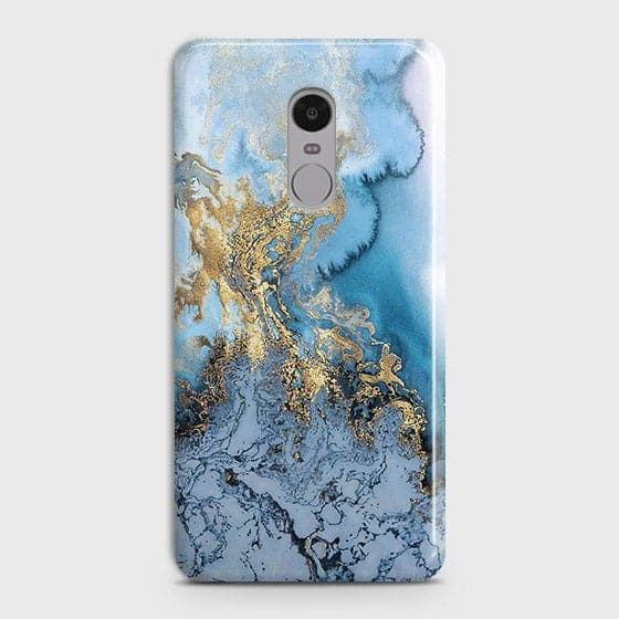 3D Trendy Golden & Blue Ocean Marble Case For Xiaomi Redmi 4X