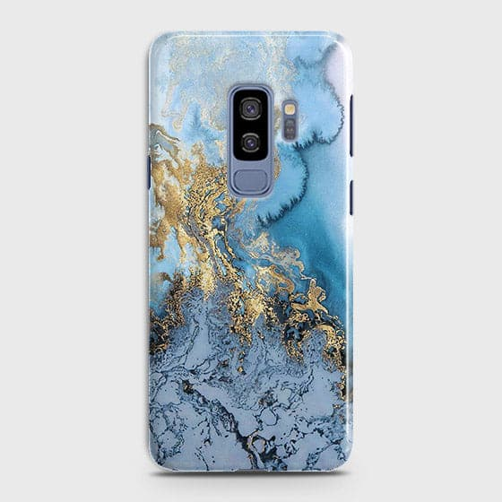 3D Trendy Golden & Blue Ocean Marble Case For Samsung Galaxy S9 Plus
