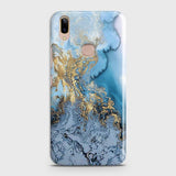 Vivo V9 / V9 Youth - Trendy Golden & Blue Ocean Marble Printed Hard Case with Life Time Colors Guarantee
