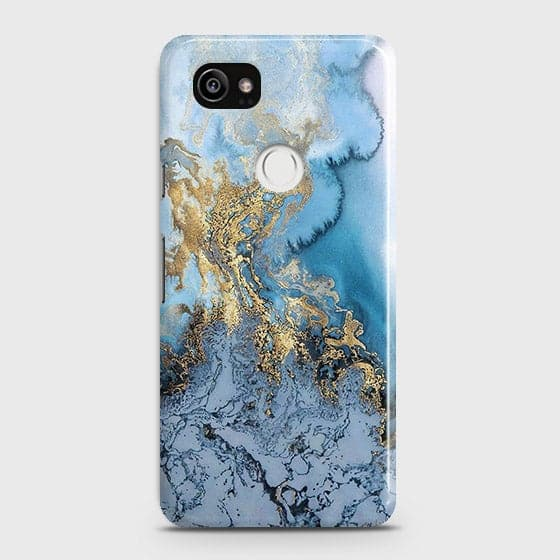 3D Trendy Golden & Blue Ocean Marble Case For Google Pixel 2 XL