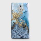 3D Trendy Golden & Blue Ocean Marble Case For Nokia 3
