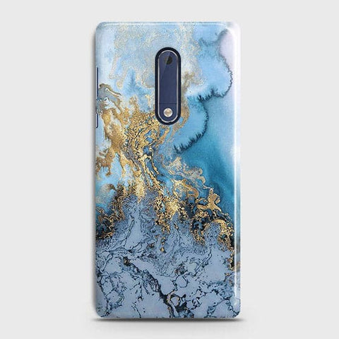 3D Trendy Golden & Blue Ocean Marble Case For Nokia 5