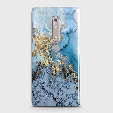 Nokia 6.1 - Trendy Golden & Blue Ocean Marble Printed Hard Case with Life Time Colors Guarantee