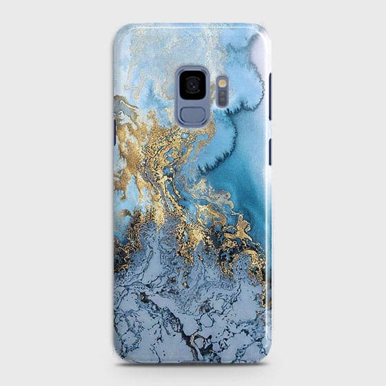 3D Trendy Golden & Blue Ocean Marble Case For Samsung Galaxy S9