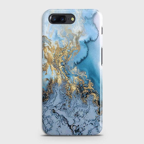 OnePlus 5 - Trendy Golden & Blue Ocean Marble Printed Hard Case with Life Time Colors Guarantee