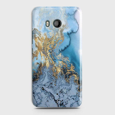 HTC U11 - Trendy Golden & Blue Ocean Marble Printed Hard Case with Life Time Colors Guarantee