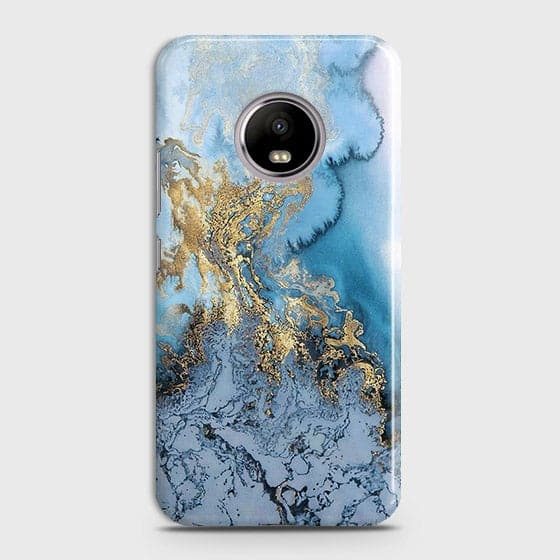 Printed Trendy Golden & Blue Ocean Marble Case with Life Time Color Guarantee For Motorola E4