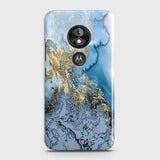 3D Trendy Golden & Blue Ocean Marble Case For Motorola Moto E5 / G6 Play