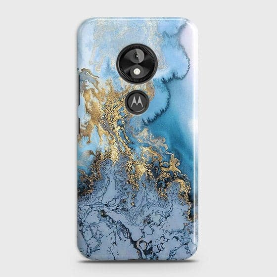 Printed Trendy Golden & Blue Ocean Marble Case with Life Time Color Guarantee For Motorola Moto E5 / G6 Play