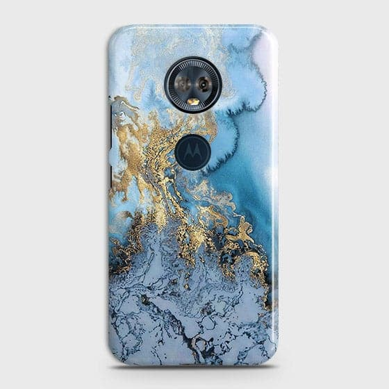 3D Trendy Golden & Blue Ocean Marble Case For Motorola E5 Plus
